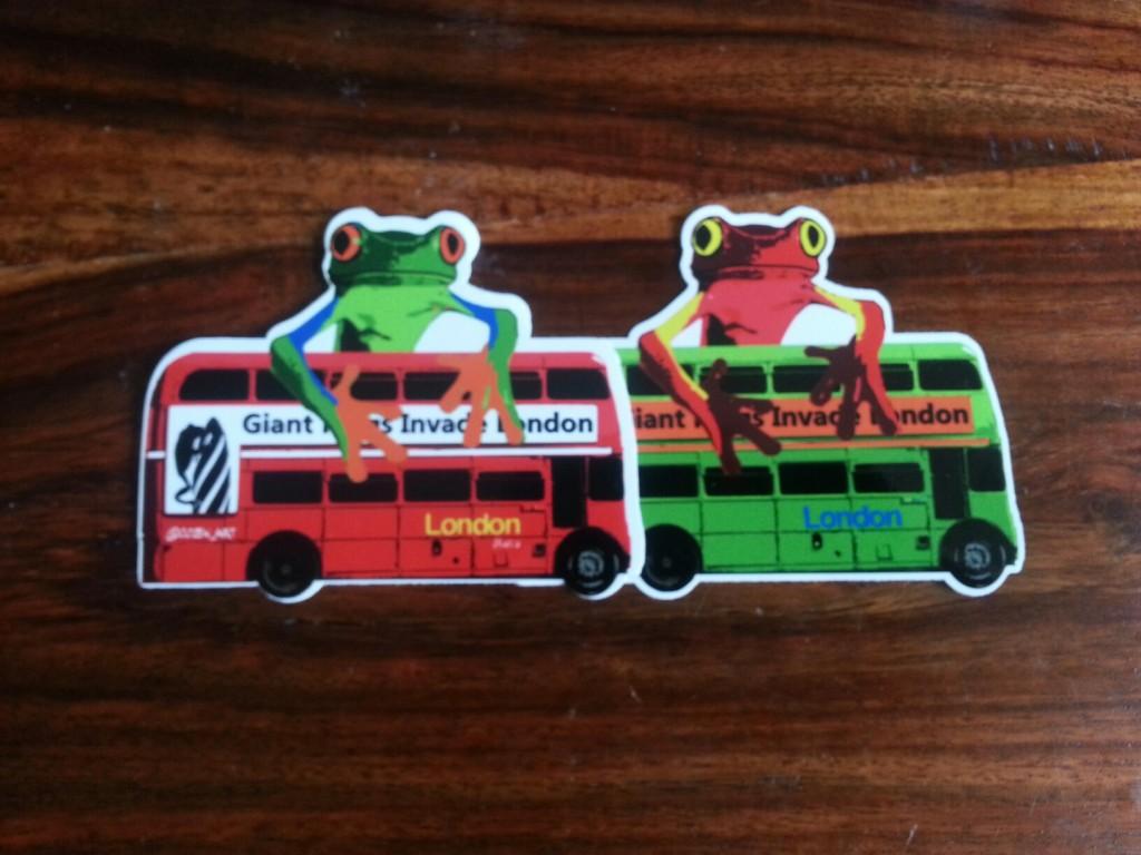 Cozen Frog and Bus Vinyl Stickers